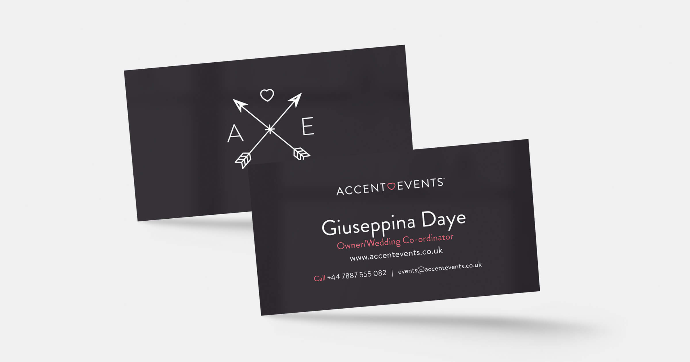 Accent Events business card by KidDotCo