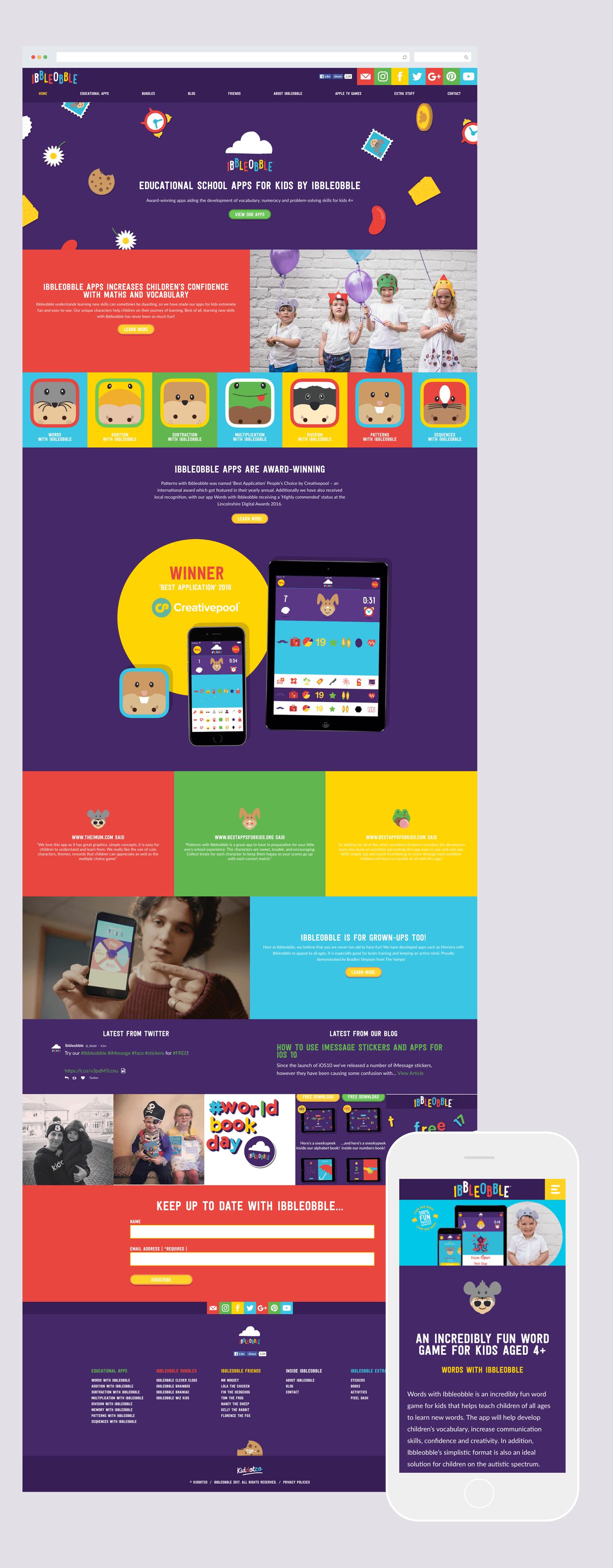 Ibbleobble educational apps award winning website